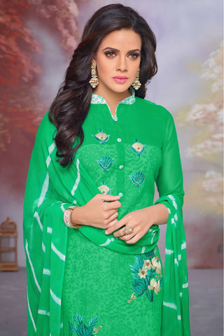 Designer Straight Cut:atisundar stunning Green Designer Party Wear Straight Cut - 13722