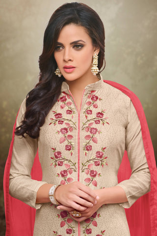 Designer Straight Cut:atisundar lovely Cream Designer Party Wear Straight Cut - 13723