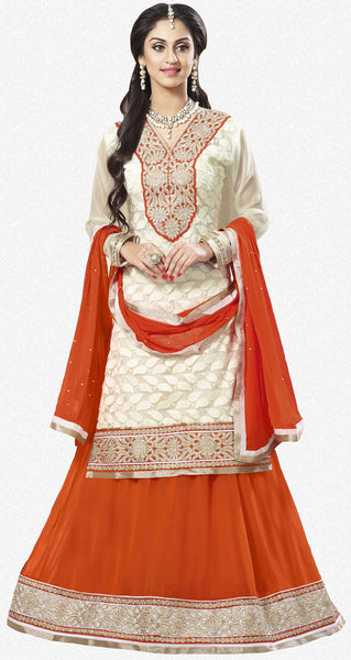 Festive Favorite:atisundar admirable Faux Georgette Designer Embroidered Lehenga in Orange - 5504 - atisundar - 3 - click to zoom