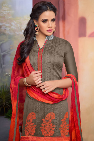 Designer Straight Cut:atisundar marvelous Grey Designer Party Wear Straight Cut - 13726