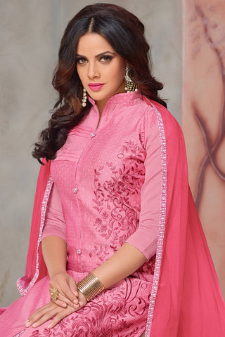 Designer Straight Cut:atisundar Lovely Pink Designer Party Wear Straight Cut - 13727