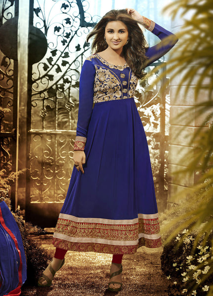 Parineeti Chopra For Siya:atisundar charming Blue Bollywood Embroidered Anarkali - 5954 - atisundar - 2 - click to zoom