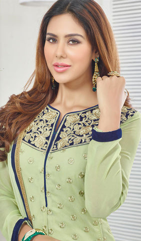 Designer Suit:atisundar exquisite Pista Green Designer Embroidered Suit - 10237 - atisundar - 3 - click to zoom
