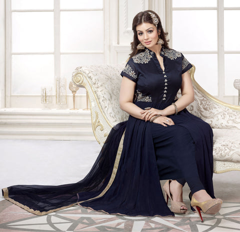 The Ayesha Takia Collection:atisundar stunning Blue Designer Party Wear Straight Cut Suits In Faux Georgette - 9547 - atisundar - 3 - click to zoom