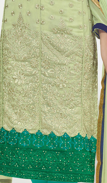 Designer Suit:atisundar exquisite Pista Green Designer Embroidered Suit - 10237 - click to zoom