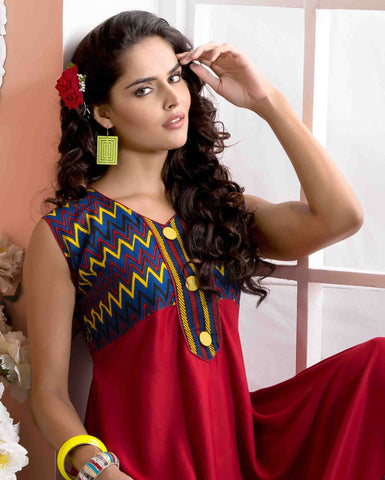 Designer tops:atisundar wonderful Rayon Designer Printed Tops in Red - 6913 - atisundar - 3