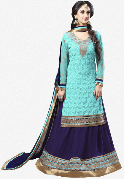 Festive Favorite:atisundar excellent Faux Georgette Designer Embroidered Lehenga in Sky - 5506 - atisundar - 2 - click to zoom