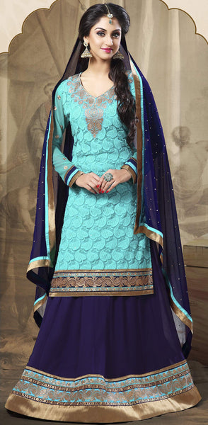Festive Favorite:atisundar excellent Faux Georgette Designer Embroidered Lehenga in Sky - 5506 - atisundar - 4 - click to zoom