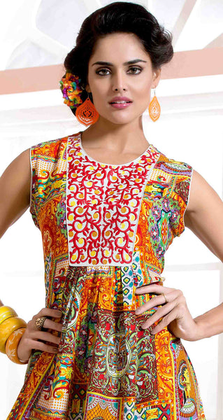 Designer tops:atisundar beauteous Rayon Designer Printed Tops in Multi - 6917 - atisundar - 3 - click to zoom
