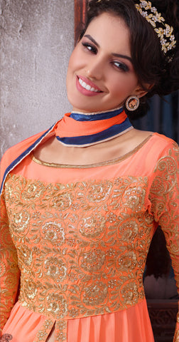 Designer Embroidered Suit:atisundar Alluring Peach Designer Embroidered Suits - 8413 - atisundar - 3 - click to zoom