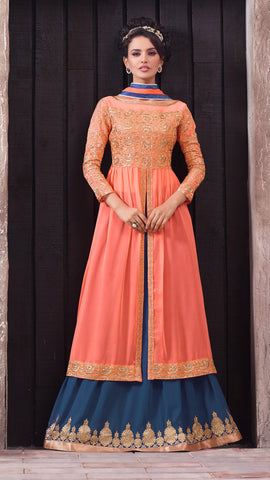 Designer Embroidered Suit:atisundar Alluring Peach Designer Embroidered Suits - 8413 - atisundar - 4 - click to zoom