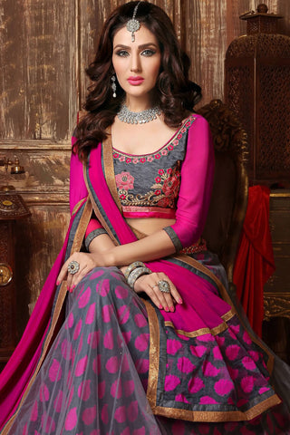 Designer Lehenga:atisundar resplendent Embroidered Net Designer Party Wear Lehenga in Grey - 12812