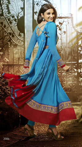 Parineeti Chopra For Siya:atisundar Beautiful Sky Blue Bollywood Embroidered Anarkali - 5956 - atisundar - 3 - click to zoom