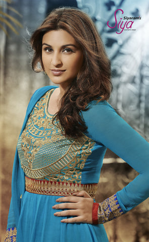 Parineeti Chopra For Siya:atisundar Beautiful Sky Blue Bollywood Embroidered Anarkali - 5956 - atisundar - 4