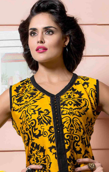 Designer tops:atisundar Beautiful Rayon Designer Printed Tops in Yellow - 6925 - atisundar - 3 - click to zoom