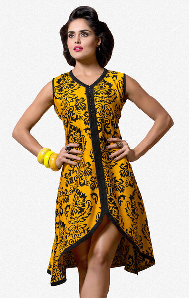 Designer tops:atisundar Beautiful Rayon Designer Printed Tops in Yellow - 6925 - atisundar - 1 - click to zoom