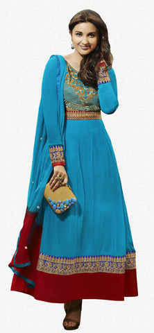 Parineeti Chopra For Siya:atisundar Beautiful Sky Blue Bollywood Embroidered Anarkali - 5956 - atisundar - 1 - click to zoom