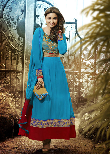 Parineeti Chopra For Siya:atisundar Beautiful Sky Blue Bollywood Embroidered Anarkali - 5956 - click to zoom