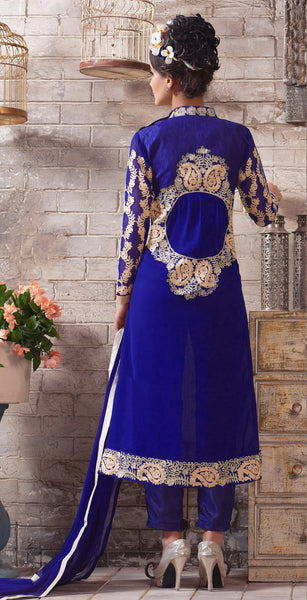 Designer Embroidered Suit:atisundar Smart Blue Designer Embroidered Suits - 8415 - atisundar - 4 - click to zoom