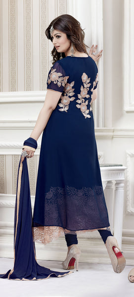 The Ayesha Takia Collection:atisundar admirable Blue Designer Party Wear Straight Cut Suits In Faux Georgette - 9551 - click to zoom