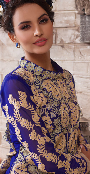 Designer Embroidered Suit:atisundar Smart Blue Designer Embroidered Suits - 8415 - atisundar - 3 - click to zoom