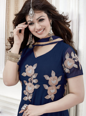 The Ayesha Takia Collection:atisundar admirable Blue Designer Party Wear Straight Cut Suits In Faux Georgette - 9551 - atisundar - 3 - click to zoom