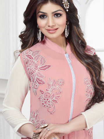 The Ayesha Takia Collection:atisundar charming Pink Designer Party Wear Straight Cut Suits In Faux Georgette - 9552 - atisundar - 2