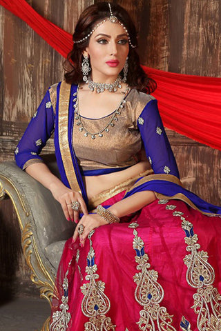 Designer Lehenga:atisundar superb Embroidered Net Designer Party Wear Lehenga in Blue And Brown - 12813