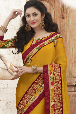 Designer Party wear Saree:atisundar delicate Designer Party Wear Saree with Border in Yellow  - 12025 - atisundar - 4