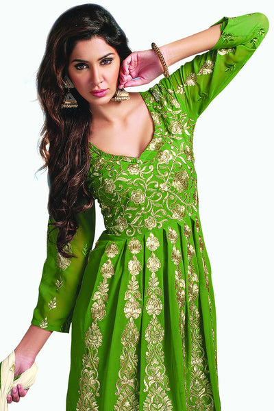 Designer Anarkali:atisundar charming Green Designer Party Wear Embroidered Anarkali - 11886 - click to zoom