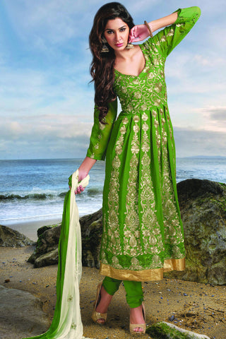 Designer Anarkali:atisundar charming Green Designer Party Wear Embroidered Anarkali - 11886 - atisundar - 3 - click to zoom