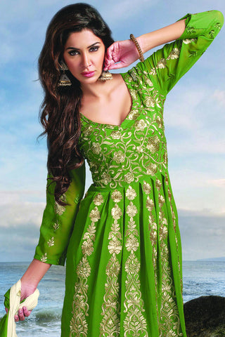 Designer Anarkali:atisundar charming Green Designer Party Wear Embroidered Anarkali - 11886 - atisundar - 4 - click to zoom
