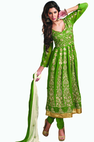 Designer Anarkali:atisundar charming Green Designer Party Wear Embroidered Anarkali - 11886 - atisundar - 1 - click to zoom