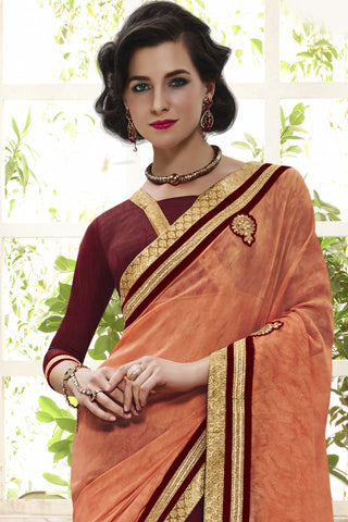 Designer Party wear Saree:atisundar fascinating Designer Party Wear Saree with Border in Orange And Maroon  - 12031 - atisundar - 4