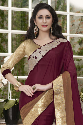 Designer Party wear Saree:atisundar magnificent Designer Party Wear Saree with Border in Maroon  - 12036 - atisundar - 4