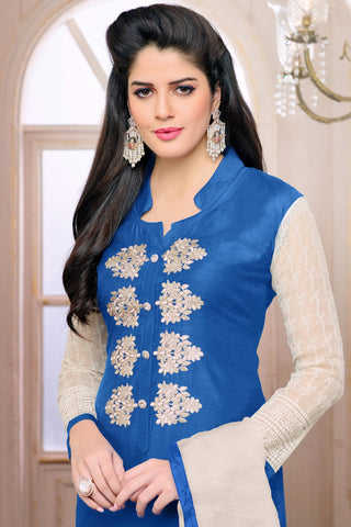 Designer Straight Cut:atisundar delightful Blue Designer Embroidered Straight Cut - 12532 - atisundar - 5