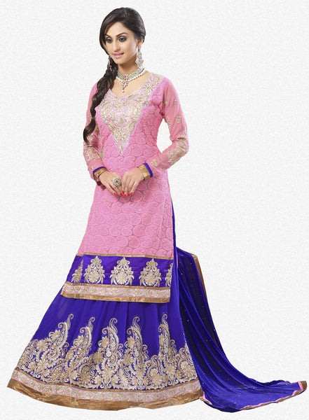 Festive Favorite:atisundar Attractive Faux Georgette Designer Embroidered Lehenga in Pink - 5514 - atisundar - 2 - click to zoom