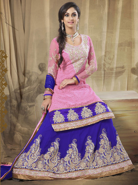 Festive Favorite:atisundar Attractive Faux Georgette Designer Embroidered Lehenga in Pink - 5514 - atisundar - 4 - click to zoom