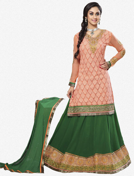 Festive Favorite:atisundar exquisite Faux Georgette Designer Embroidered Lehenga in Peach - 5515 - atisundar - 2 - click to zoom