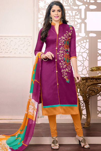 Designer Straight Cut:atisundar Attractive Pink Designer Embroidered Straight Cut - 12533 - atisundar - 4 - click to zoom