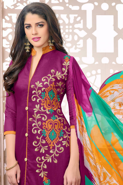Designer Straight Cut:atisundar Attractive Pink Designer Embroidered Straight Cut - 12533 - atisundar - 6 - click to zoom