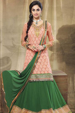 Festive Favorite:atisundar exquisite Faux Georgette Designer Embroidered Lehenga in Peach - 5515 - atisundar - 5