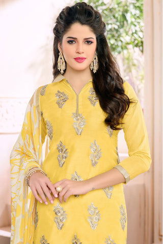 Designer Straight Cut:atisundar beauteous Yellow Designer Embroidered Straight Cut - 12534 - atisundar - 4