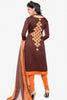 Designer Straight Cut:atisundar marvelous Brown Designer Embroidered Straight Cut - 12536 - atisundar - 2 - click to zoom