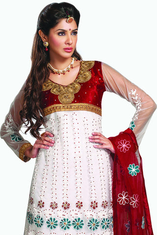 Designer Anarkali:atisundar stunning White Designer Party Wear Embroidered Anarkali - 11887 - atisundar - 3
