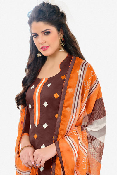 Designer Straight Cut:atisundar marvelous Brown Designer Embroidered Straight Cut - 12536 - atisundar - 3 - click to zoom