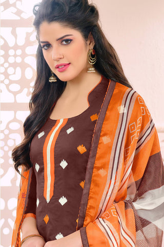 Designer Straight Cut:atisundar marvelous Brown Designer Embroidered Straight Cut - 12536 - atisundar - 6