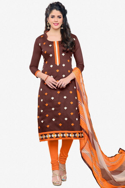 Designer Straight Cut:atisundar marvelous Brown Designer Embroidered Straight Cut - 12536 - atisundar - 1 - click to zoom