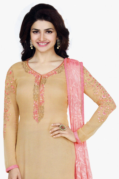 The Prachi Desai Collection:atisundar classy Beige Designer Party Wear Straight Cut Suits In Faux Georgette - 10488 - atisundar - 2 - click to zoom