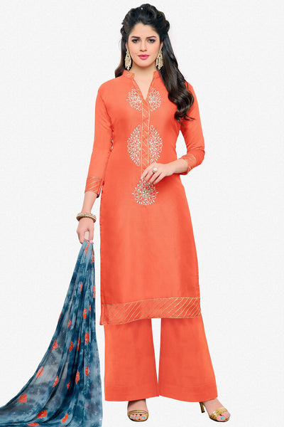 Designer Straight Cut:atisundar graceful Orange Designer Embroidered Straight Cut - 12537 - atisundar - 1 - click to zoom